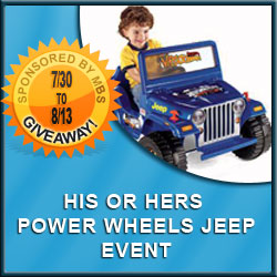 His or Hers Power Wheels Jeep Giveaway