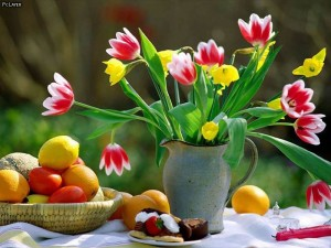 Flowers-and-Fruits-Wallpaper
