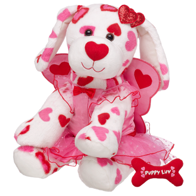 valentine's heart covered teddy bear