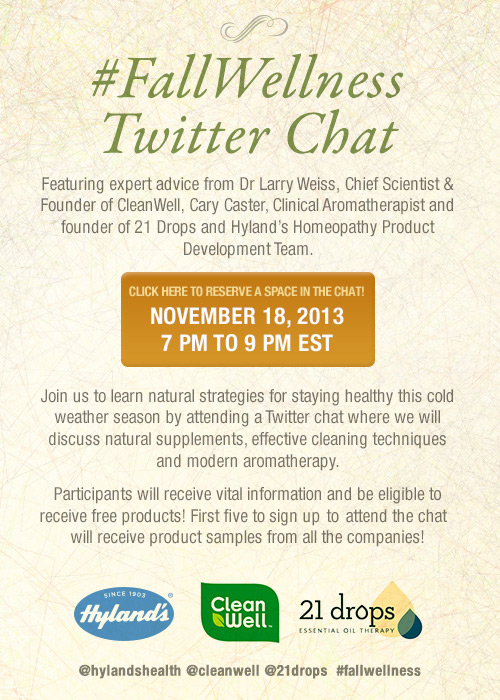 Hyland 39 s homeopathy fallwellness live twitter chat november 18 miss frugal mommy for Cleanwell botanical disinfectant bathroom cleaner