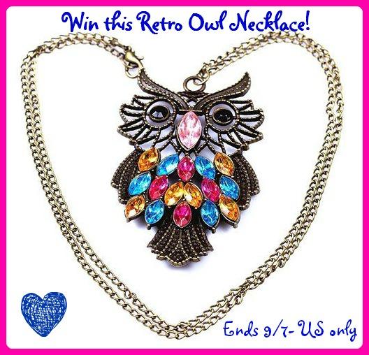 retro owl necklace button