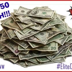 pile of cash $50 6 1
