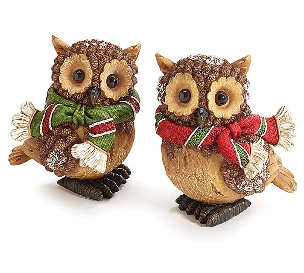 Set of 2 Christmas Snow Owl Figurines Adorable Holiday Home Decor