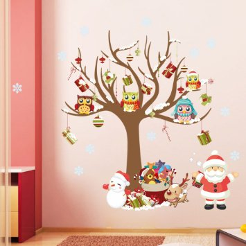 Owl & Santa Christmas Decal