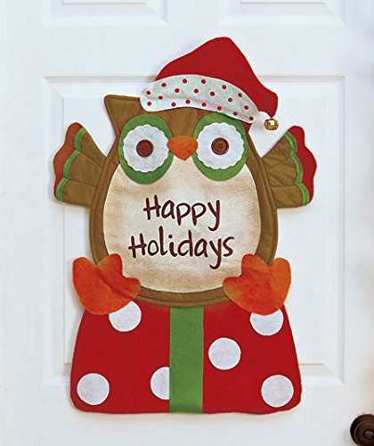 Happy Holidays Christmas Owl Door Hanger