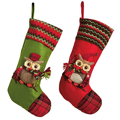 Owl Christmas Stocking Set of 2 #GiftIdeas #Owls #OwlLovers
