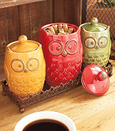 Owl Kichen Canister Set with Metal Stand #KitchenGift #OwlLover