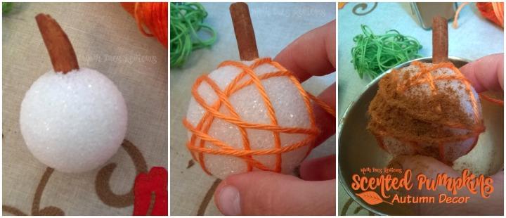 Cinnamon scented pumpkins from ground cinnamon and cinnamon sticks