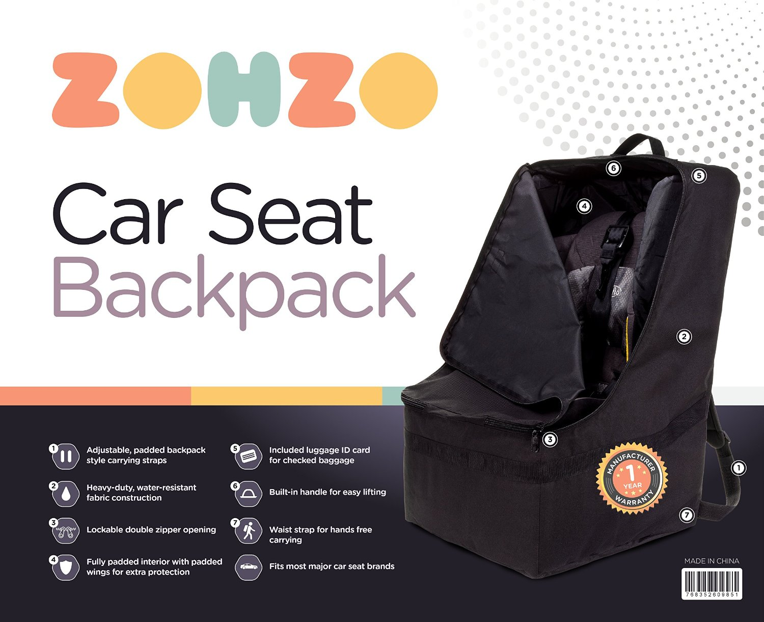 zohzo car seat backpack and 25 amazon gc giveaway ends 4 22. Black Bedroom Furniture Sets. Home Design Ideas