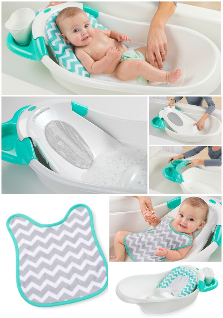for added bathing convenience grows with baby from newborn to toddler