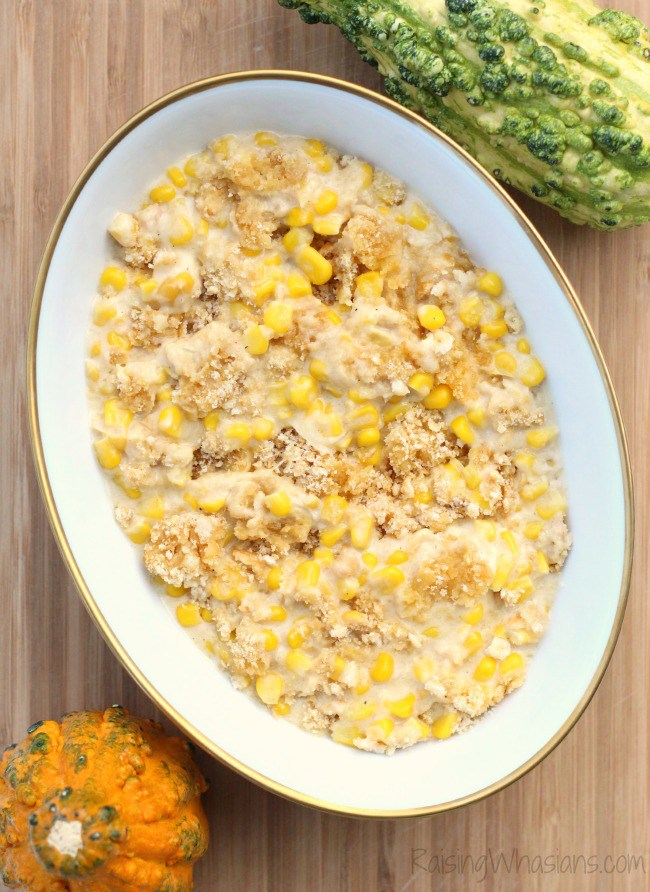 Crockpot Corn Casserole by Raising Whasians