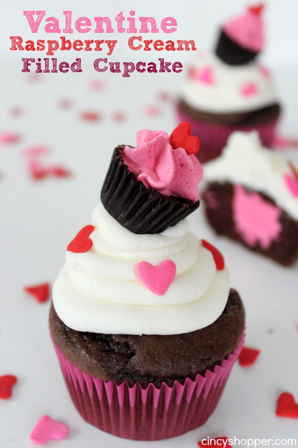 Valentine Raspberry Cream Filled Cupcake with a Cupcake by Cincy Shopper