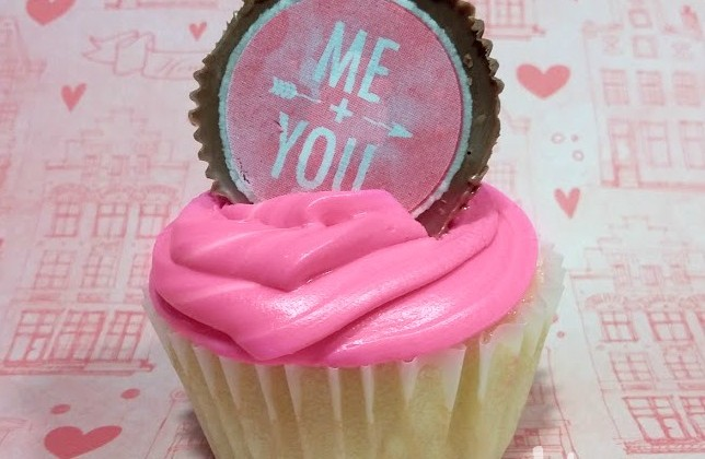 Valentine's Day Cupcake with Sweetheart Peanut Butter Cup Topper