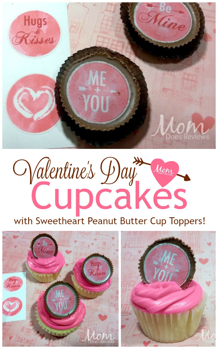 Valentine's Day Cupcakes with Sweetheart PB Cup Cupcake Toppers