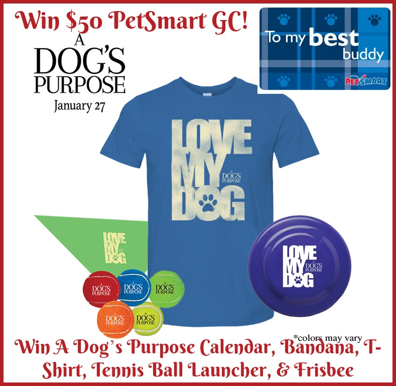 Win $50 Petsmart GC and A Dog's Purpose Prize Pack US ends 1/15 -
