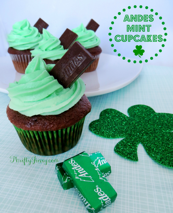Andes Mint Cupcakes by Thrifty Jinxy