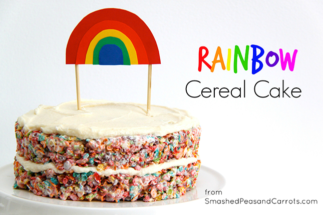 Rainbow Cereal Cake by Smashed Peas & Carrots