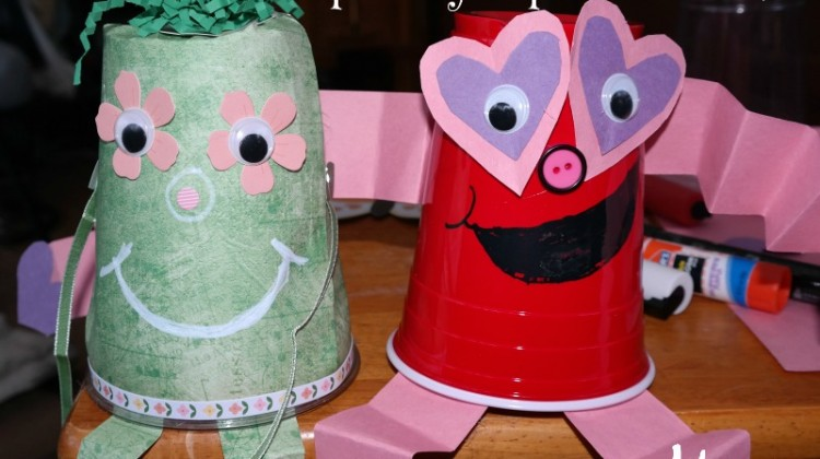 Super Easy Cup Creature #Crafts- Silly Heart Man and Flower Person