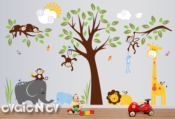 New Evgie Nursery Wall Decals From Jungle Safari Collection Has Been  Crafted Especially To Brighten The