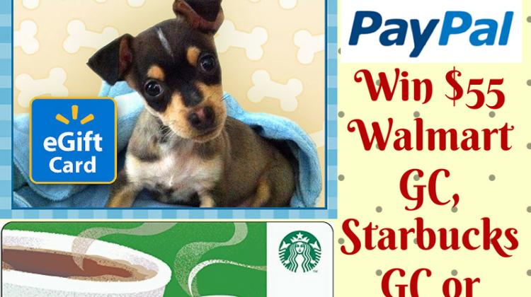 #Win $55 Paypal Cash, Starbucks GC or Walmart GC WW ends 2/24