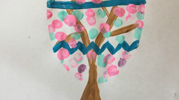 Thumbprint Easter Tree and Thumbprint Bunny Cards #Easter Crafts