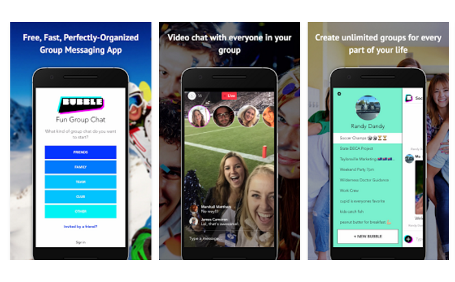 Live Stream in Your Private Group Chat with the Bubble Group Messaging app #Review #ad