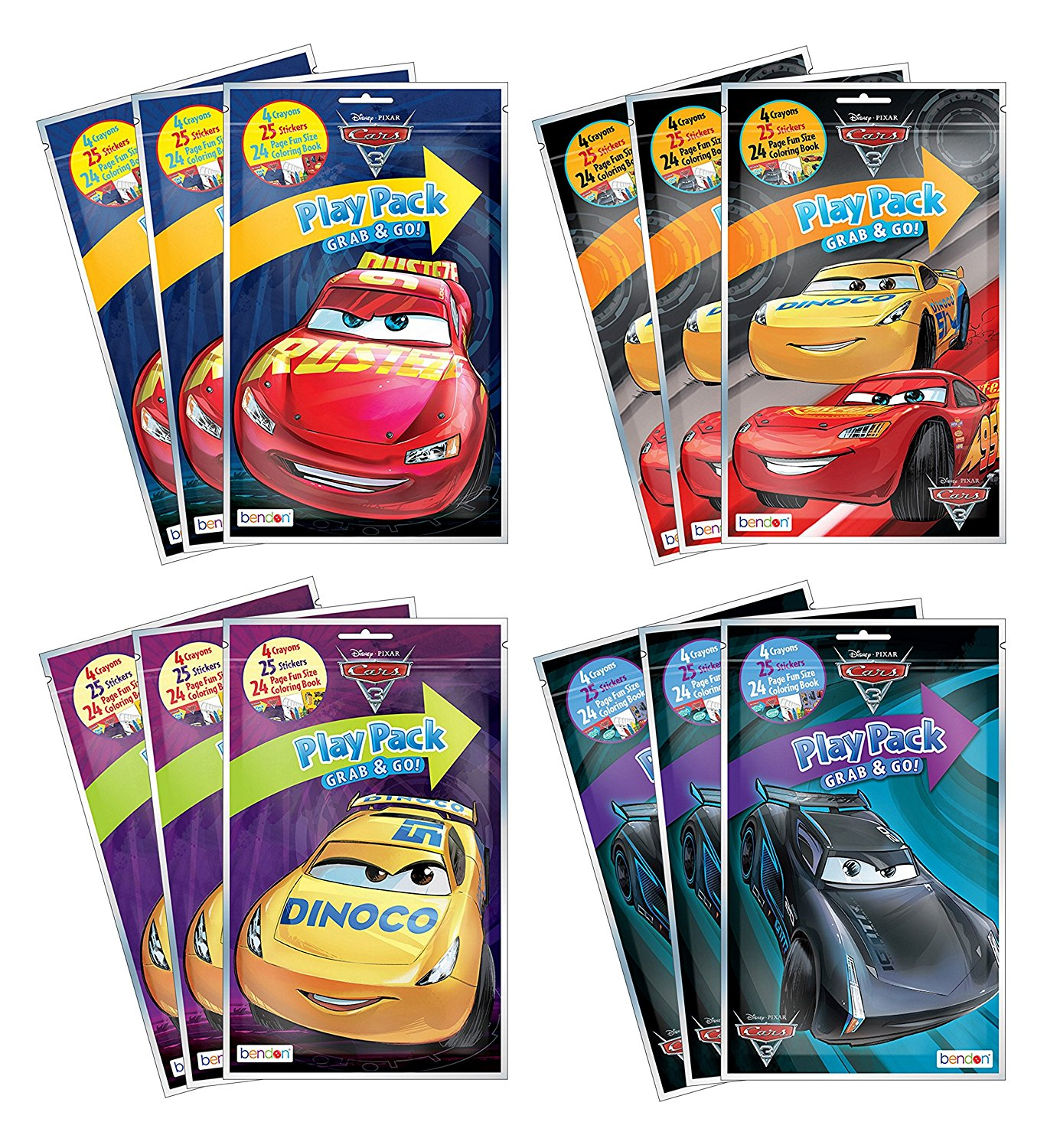 Bundle of 12 Disney Pixar Cars 3 Grab & Go Play Packs