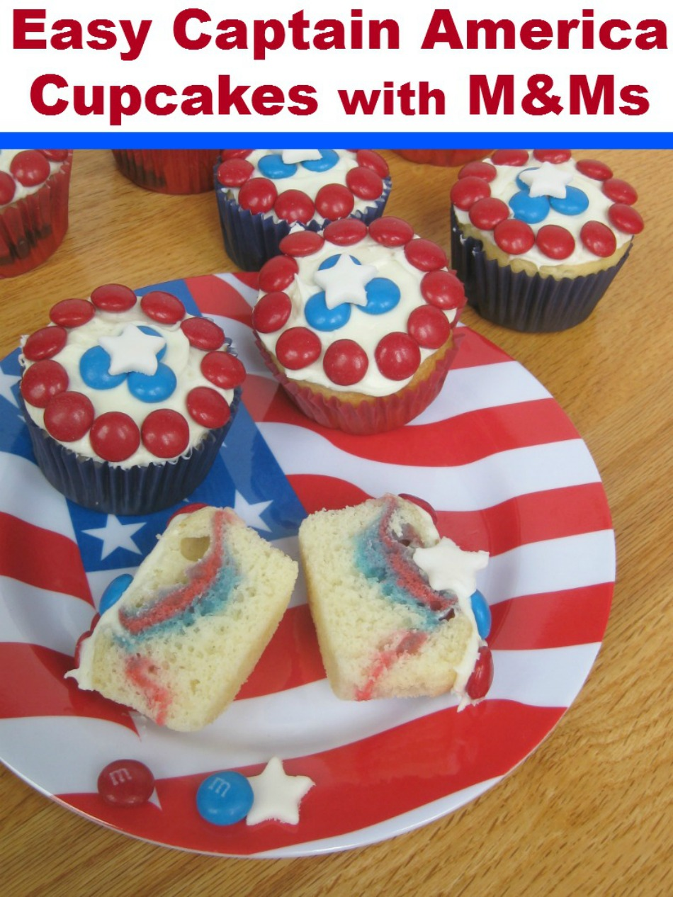 Easy Captain America Cupcakes with M&Ms