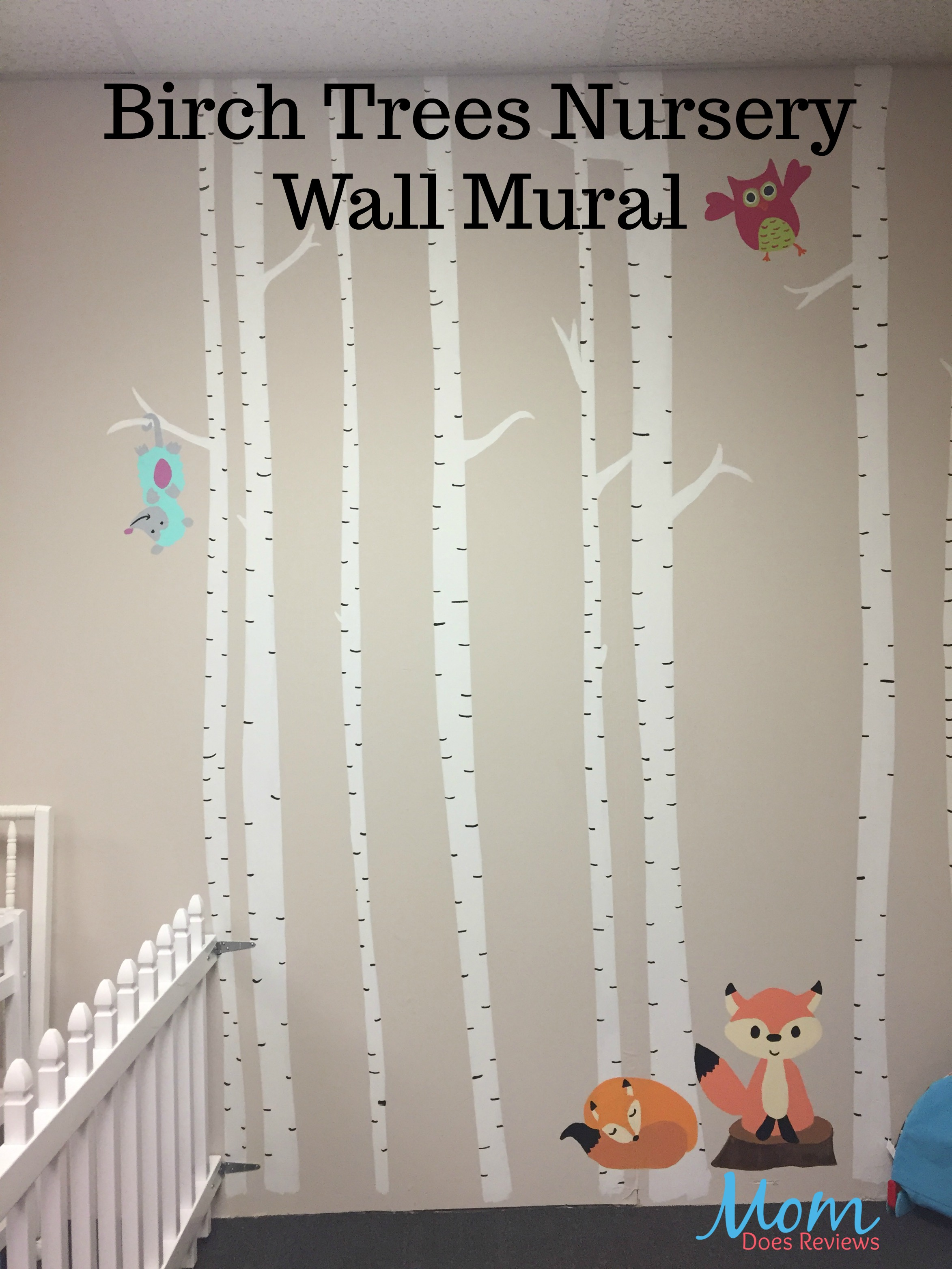 Painted birch trees mural for the nursery wall for Birch trees mural