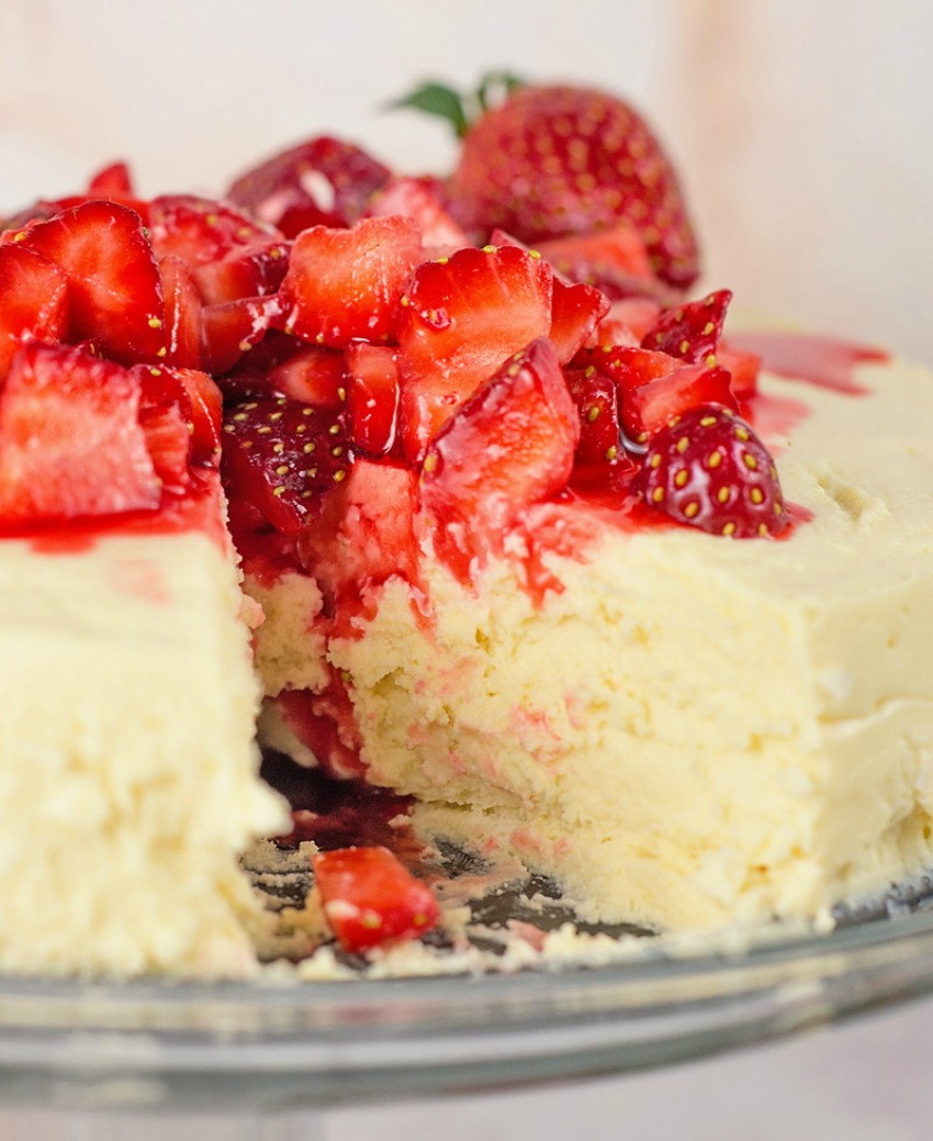 Low Carb-Sugar Free Crustless Cheesecake