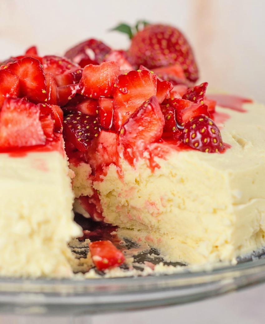 Low Carb-Sugar Free Crustless Cheesecake