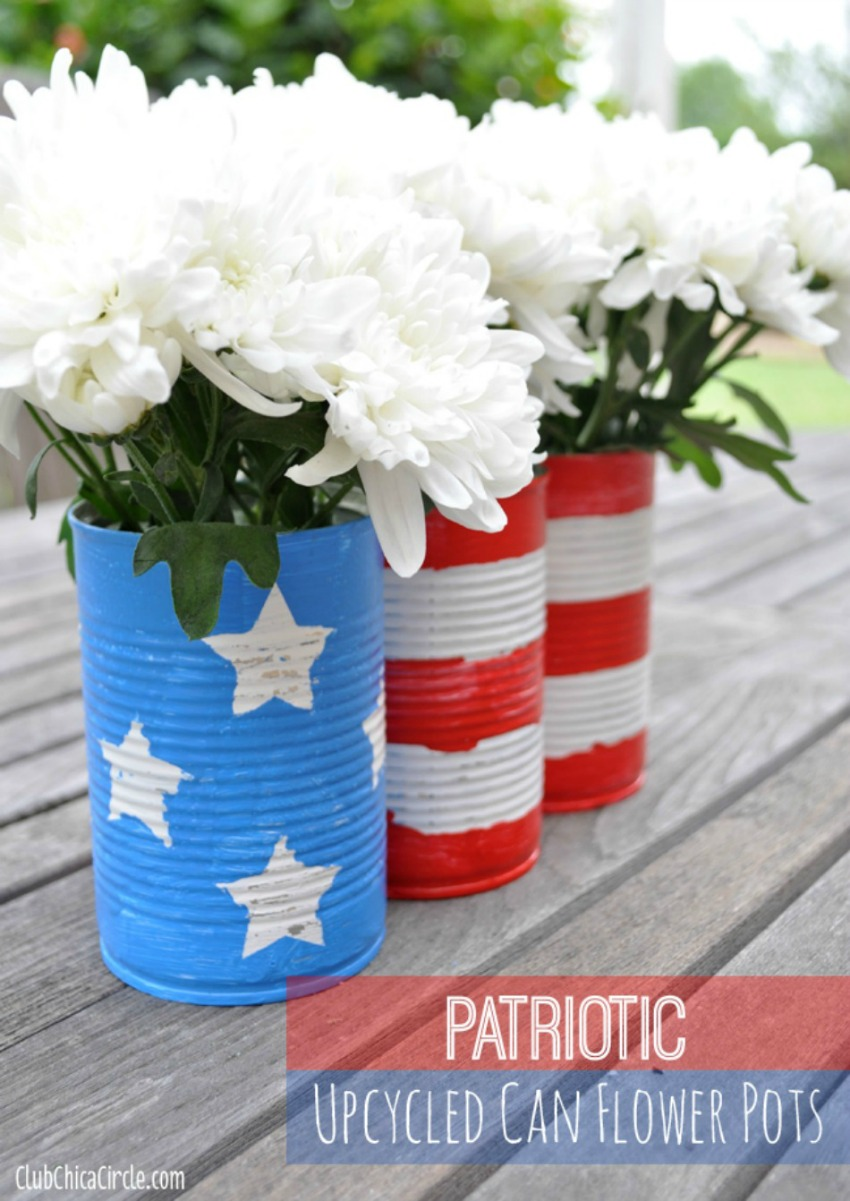 Patriotic Upcycled Can Flower Pots Centerpiece