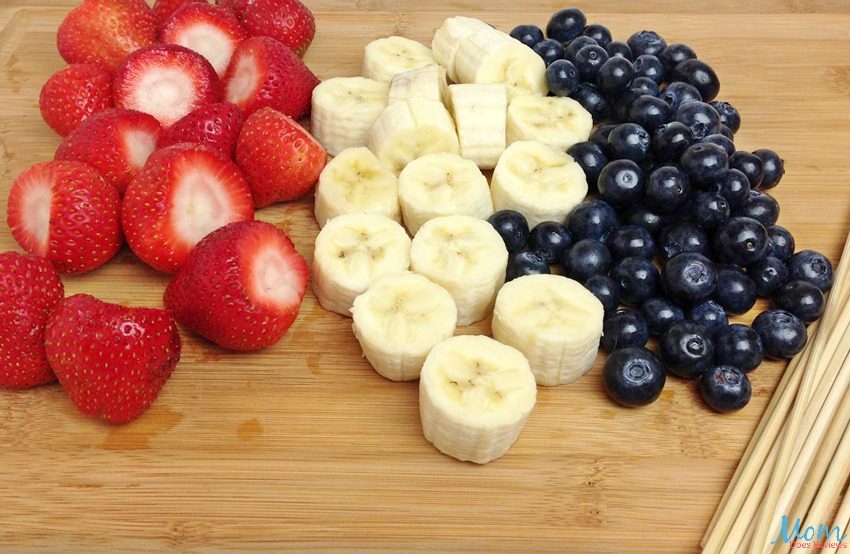Red, White, & Blue Fruit Skewers process