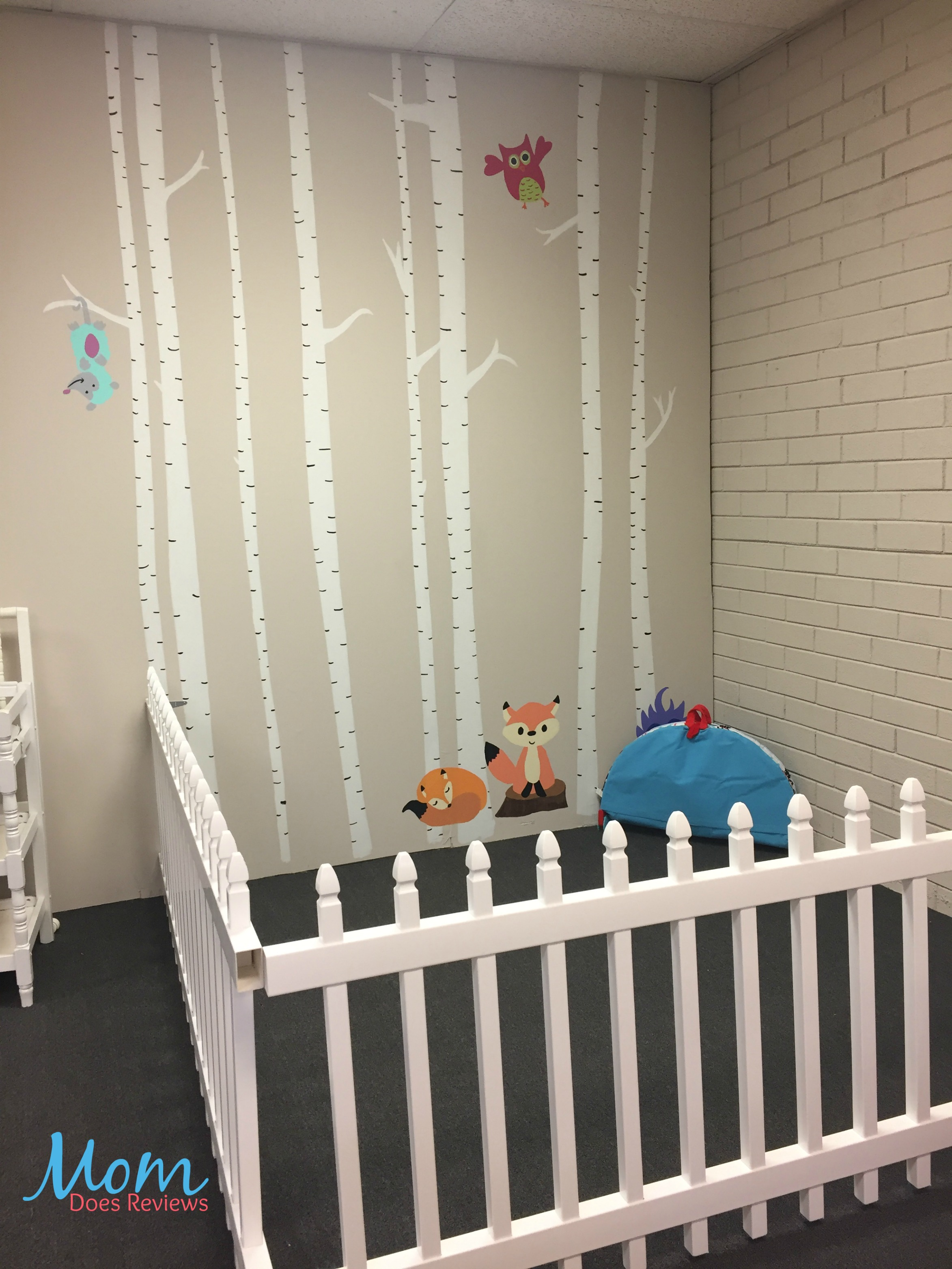 Painted birch trees mural for the nursery wall for Birch tree mural nursery