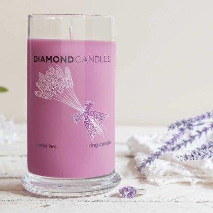 lavender lace diamond candle