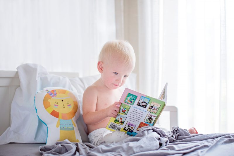 boy reading picture book