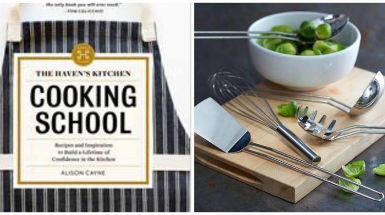 #Win Cooking School Cookbook and Stainless Steel Kitchen Tools from Williams Sonoma