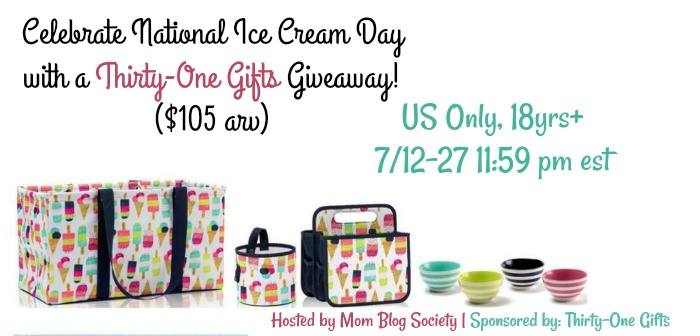 National Ice Cream Day Thirty one gifts prize