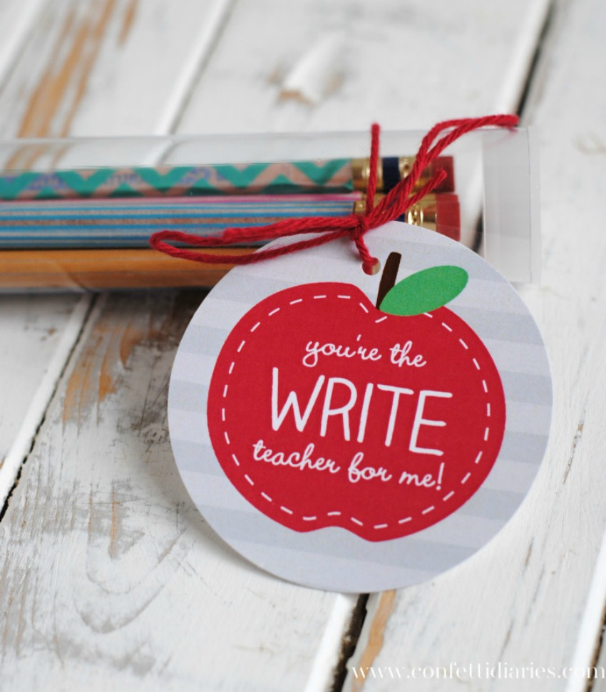 Washi Tape Pencils and Free Printable Apple Gift Tags