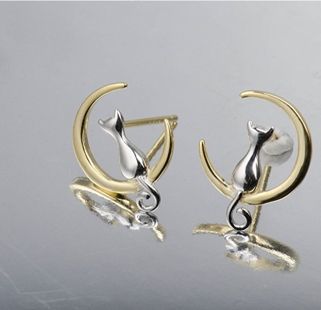 Cat over the moon earrings