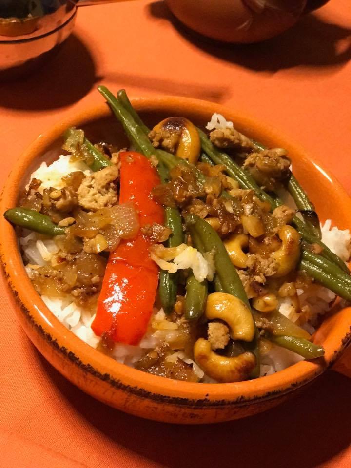 Asian Turkey and Green Bean dinner
