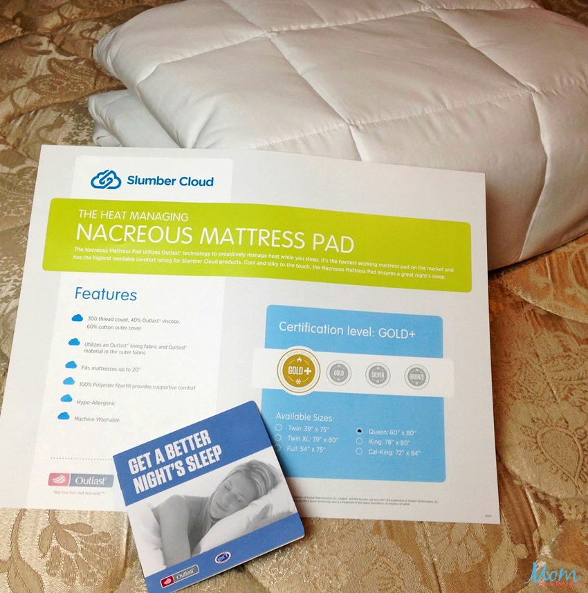 Slumber Cloud Nacreous Mattress Pad with Heat Management Properties Gives You a Restful Night's Sleep #MegaChristmas17