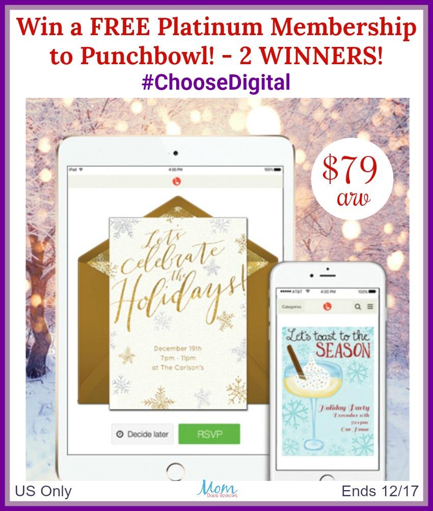 #ChooseDigital Giveaway! Win a FREE Platinum Membership to Punchbowl (arv $79)!