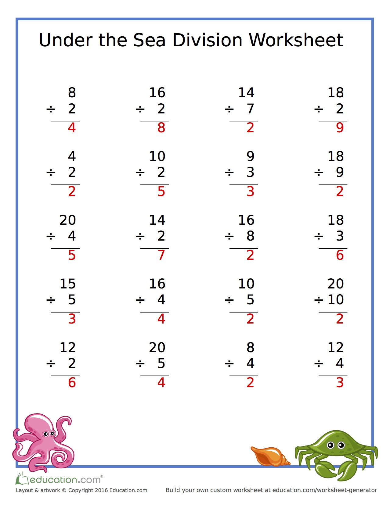Division under the Sea Worksheets