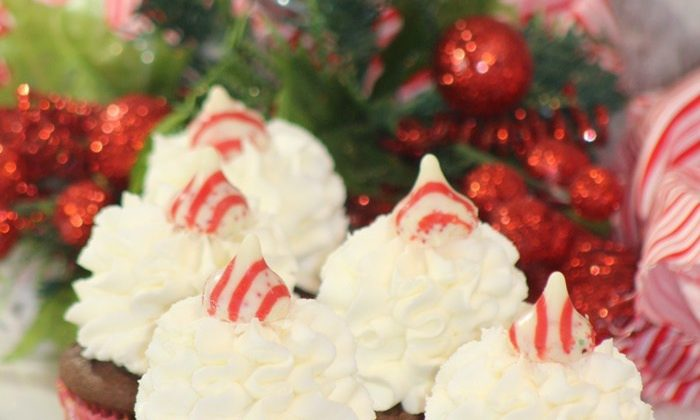 Day 29 of our 30 Days of #ChristmasSweets -Chocolate Cupcakes with Peppermint Kisses