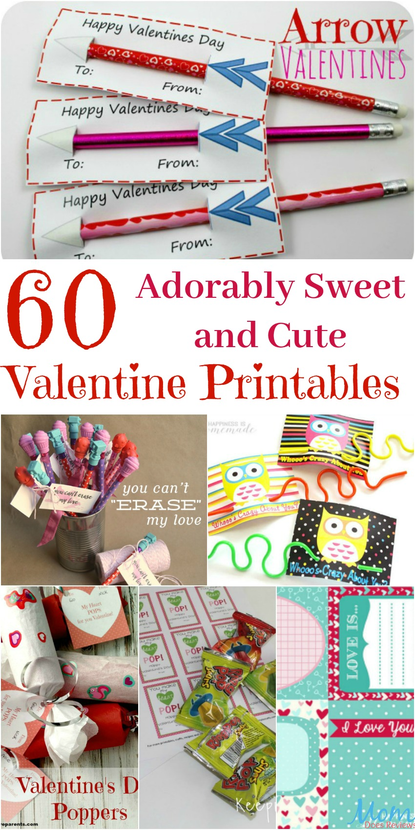 60 Adorably Sweet and Cute Valentine Printables banner