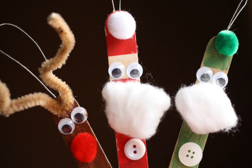 Adorable Craft Stick Santa, Elf and Reindeer Ornaments