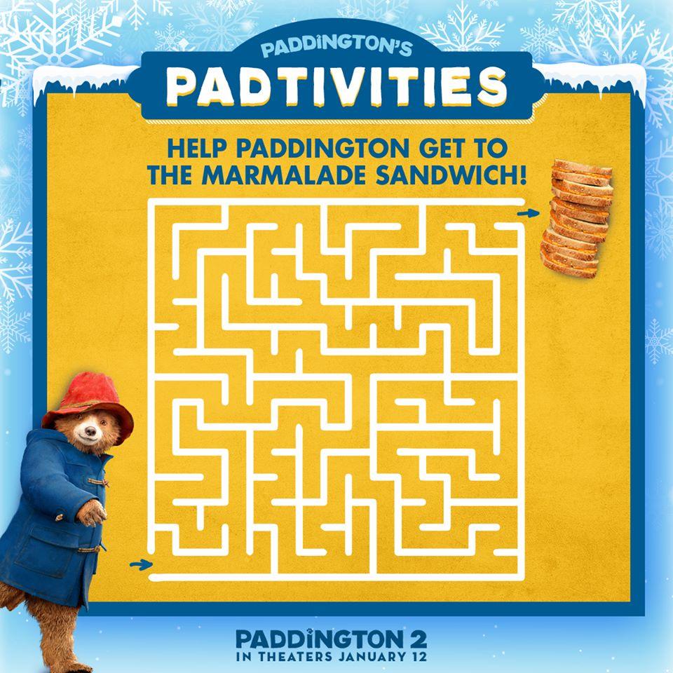 Paddington2 activity sheets