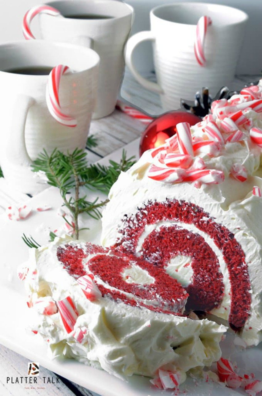 Platter Talk, Red Velvet Cake Roll with Chocolate & Peppermint Butter Cream Frosting
