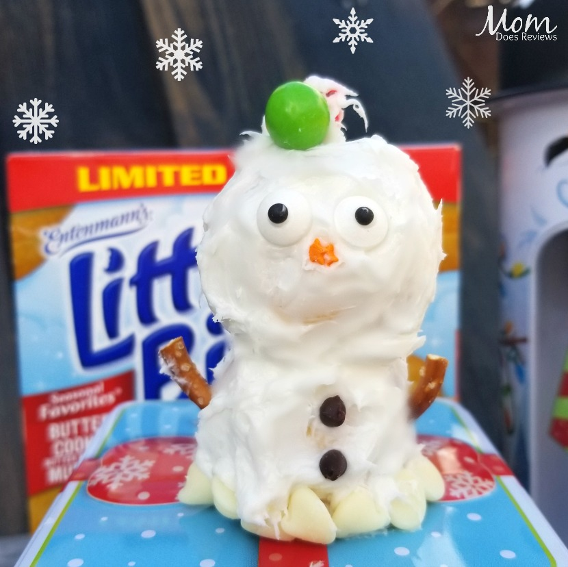 Snowman made with Little Bites® Butter Cookie Muffins